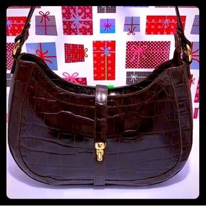 Michael Rome Croc Embossed Leather Shoulder Bag